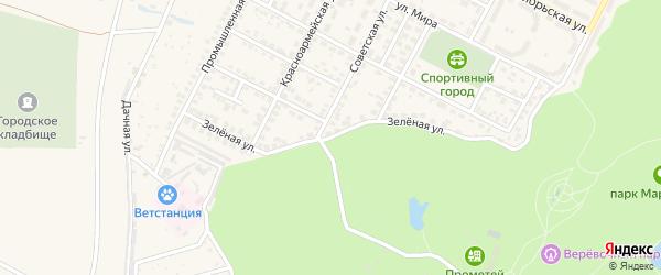Зеленая улица на карте Строителя с номерами домов