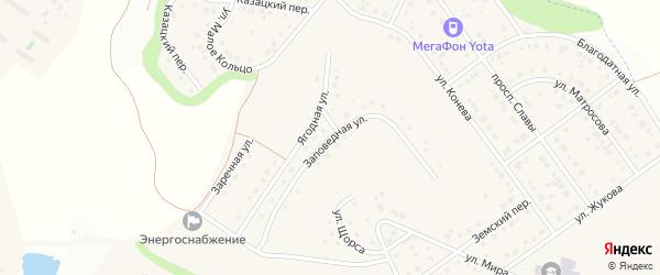 Заповедная улица на карте Майского поселка с номерами домов