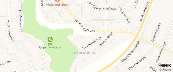 Янтарная улица на карте Майского поселка с номерами домов