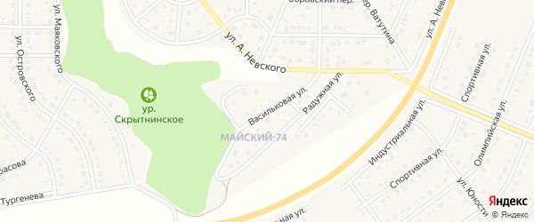 Васильковая улица на карте Майского поселка с номерами домов