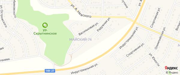 Радужная улица на карте Майского поселка с номерами домов