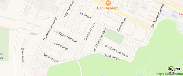 Улица Циолковского на карте Строителя с номерами домов