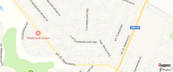Невский 1-й переулок на карте Майского поселка с номерами домов