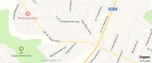 Улица Суворова на карте Майского поселка с номерами домов