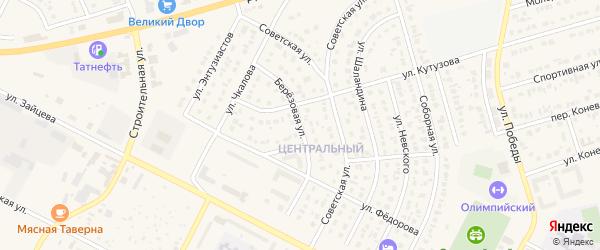 Березовая улица на карте Строителя с номерами домов