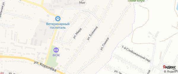 Улица Есенина на карте Стрелецкого села с номерами домов