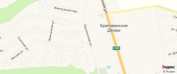 Проселочная улица на карте Строителя с номерами домов