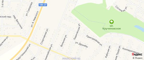 Пригородная улица на карте Майского поселка с номерами домов