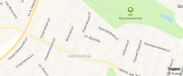 Улица Дружбы на карте Майского поселка с номерами домов