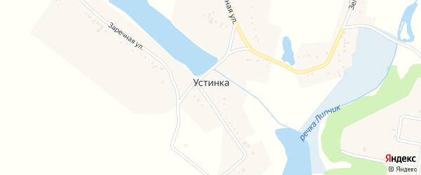 Зеленая улица на карте села Устинки с номерами домов