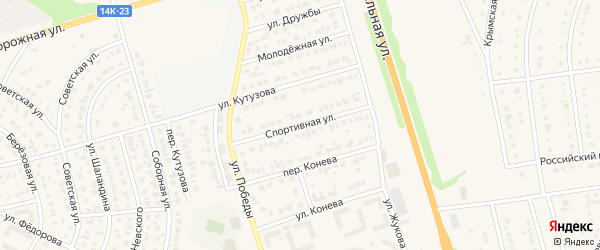 Спортивная улица на карте Строителя с номерами домов