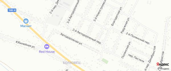 Автодорожный 2-й переулок на карте Белгорода с номерами домов