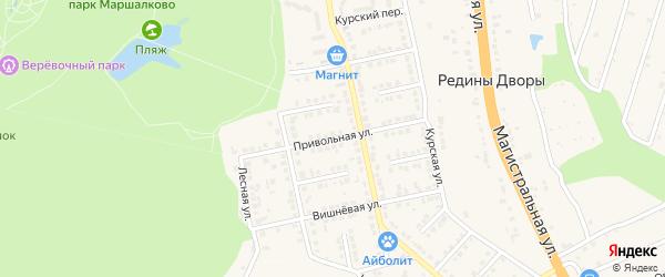 Привольная улица на карте Строителя с номерами домов