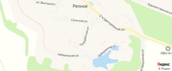 Гвардейская улица на карте Репного села с номерами домов