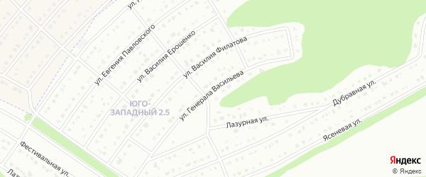 Улица Генерала Васильева на карте Белгорода с номерами домов