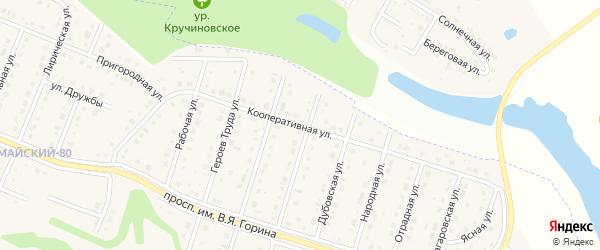 Кооперативная улица на карте Майского поселка с номерами домов