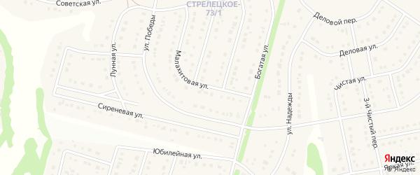 Малахитовая улица на карте Стрелецкого села с номерами домов