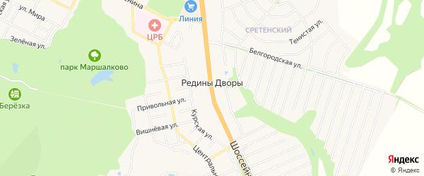 Карта хутора Редины Дворы в Белгородской области с улицами и номерами домов