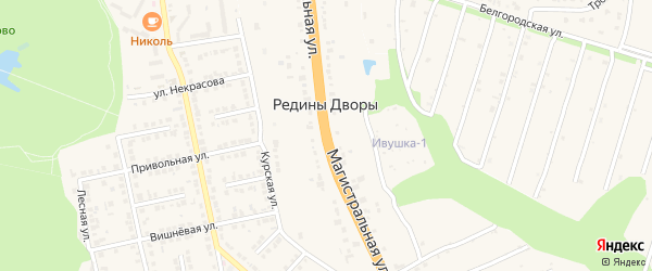 Магистральная улица на карте хутора Редины Дворы с номерами домов