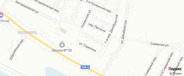Декабристов 1-й переулок на карте Белгорода с номерами домов