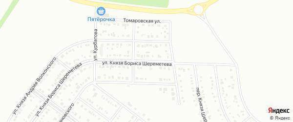 Улица Князя Бориса Шереметева на карте Белгорода с номерами домов