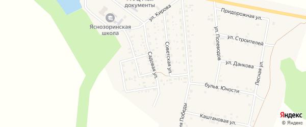 Садовая улица на карте поселка Ясные Зори с номерами домов