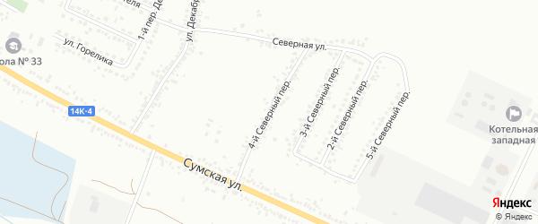 Северный 4-й переулок на карте Белгорода с номерами домов