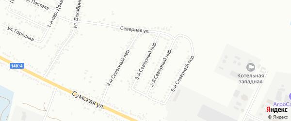 Северный 3-й переулок на карте Белгорода с номерами домов