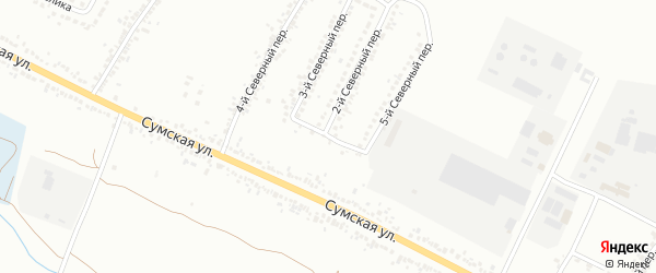 Северный 1-й переулок на карте Белгорода с номерами домов