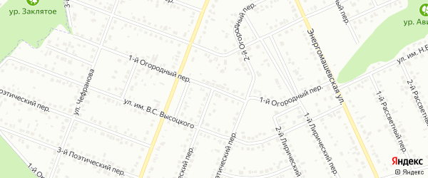 Огородный 1-й переулок на карте Белгорода с номерами домов