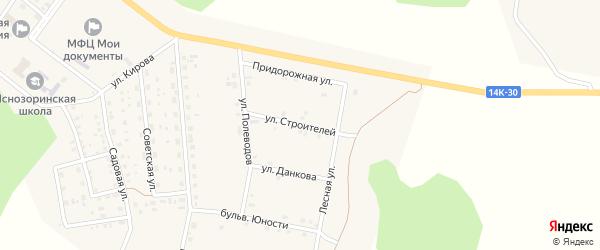Улица Строителей на карте поселка Ясные Зори с номерами домов