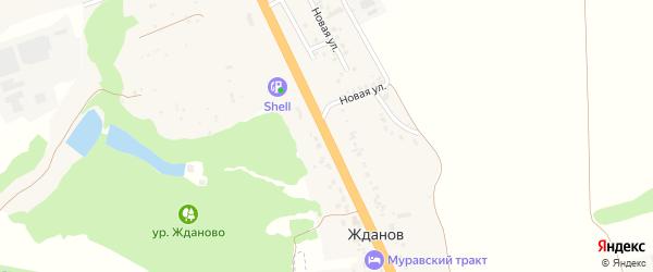Шоссейная улица на карте хутора Жданова с номерами домов