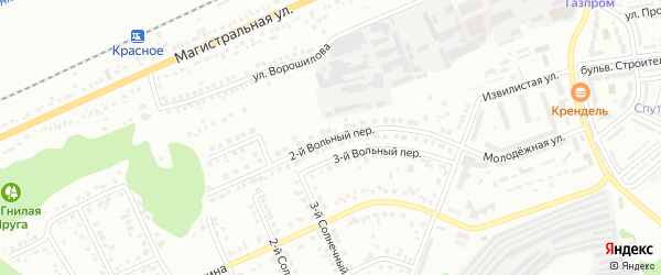 Вольный 2-й переулок на карте Белгорода с номерами домов