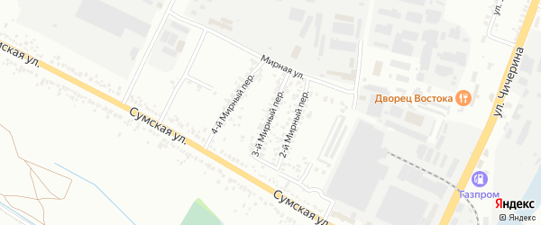 Мирный 3-й переулок на карте Белгорода с номерами домов