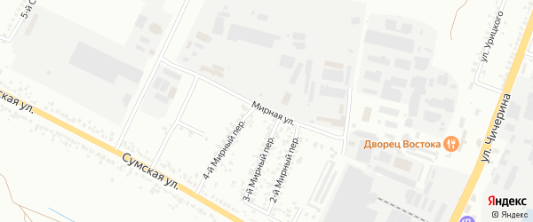 Мирная улица на карте Белгорода с номерами домов