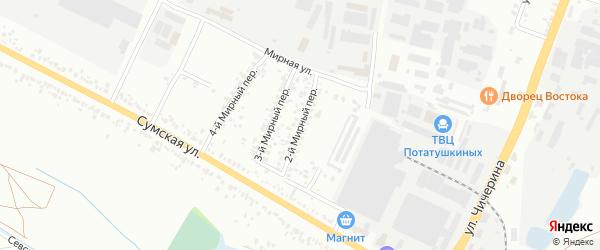 Мирный 2-й переулок на карте Белгорода с номерами домов