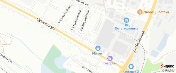 Мирный 1-й переулок на карте Белгорода с номерами домов