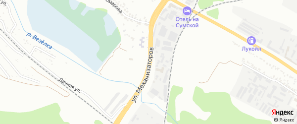 Улица Механизаторов на карте Белгорода с номерами домов