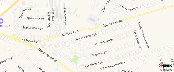 Богатырская улица на карте поселка Дубового с номерами домов