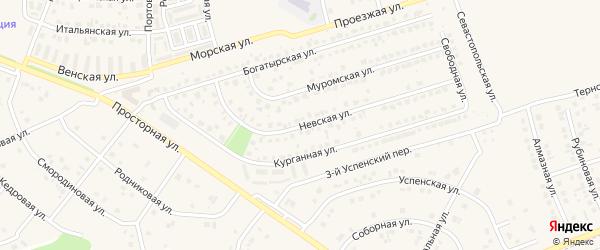 Невская улица на карте поселка Дубового с номерами домов