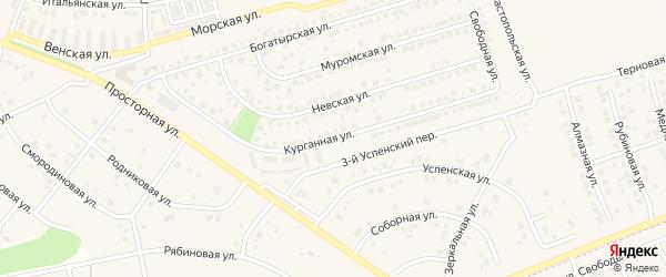 Курганная улица на карте поселка Дубового с номерами домов