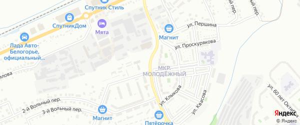Молодежная улица на карте Белгорода с номерами домов