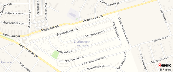 Муромская улица на карте поселка Дубового с номерами домов