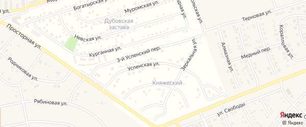 Успенская улица на карте поселка Дубового с номерами домов