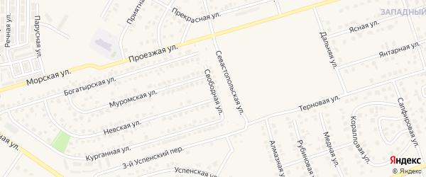 Свободная улица на карте поселка Дубового с номерами домов