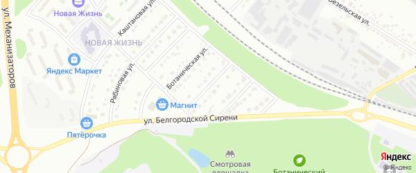 Ботанический 1-й переулок на карте Белгорода с номерами домов