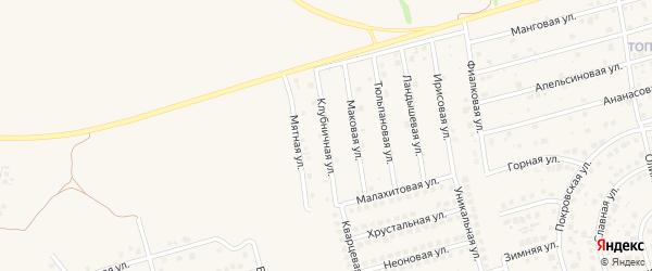 Клубничная улица на карте поселка Дубового с номерами домов