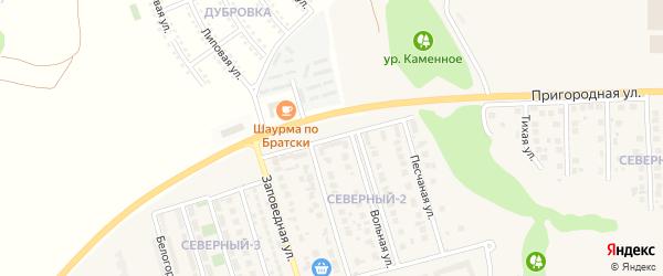 Заповедный переулок на карте поселка Дубового с номерами домов