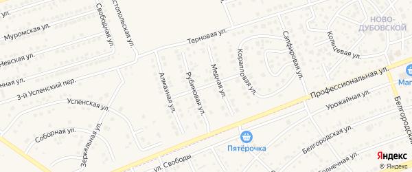 Медная улица на карте поселка Дубового с номерами домов