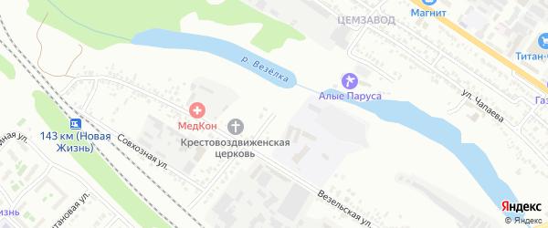 Везельский 1-й переулок на карте Белгорода с номерами домов